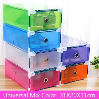 5PCS Transparent shoe box dustproof storage box can be superimposed combination shoe cabinet Clamshell men and women shoe box