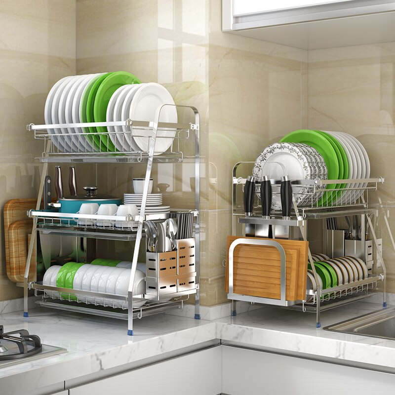 304 Stainless Steel Dish Rack Countertop Drain Dish Rack Kitchen Storage Holders & Racks Kitchen Supplies