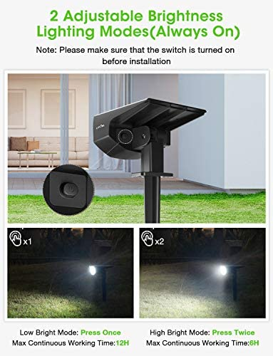 LITOM 12 LEDs Solar Landscape Spotlights, IP67 Waterproof Solar Powered Wall Lights 2-in-1 Wireless Outdoor Solar Landscaping Light for Yard Garden Driveway Porch Walkway Pool Patio (Cold White)