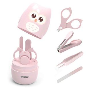 YIVEKO Baby Nail Kit, 4-in-1 Baby Nail Care Set with Cute Case, Baby Nail Clipper, Scissors, Nail File & Tweezers, Baby Manicure Kit and Pedicure kit for Newborn, Infant, Toddler, Kids-Owl Pink