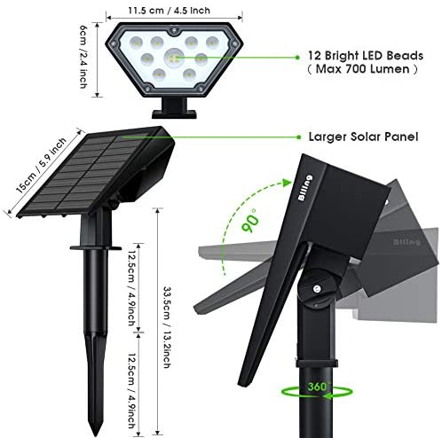 Biling Solar Spotlights Outdoor, 2-in-1 Solar Landscape Lights 12 LED Bulbs Solar Powered Lights IP67 Waterproof Adjustable Wall Light for Patio Pathway Yard Garden Driveway Pool - Warm White(4 Pack)