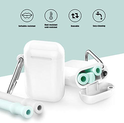 Reusable Collapsible Silicone Drinking Straws Set - Eco Friendly Foldable Straws,2 Carrying Case and 2 Cleaning Brush,Kids Friendly, BPA Free,Portable, for Travel, Household, Outdoor. (Teal+Gray)