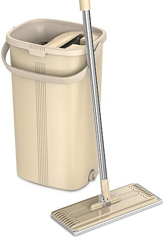 TETHYS Flat Floor Mop and Bucket Set for Professional Home Floor Cleaning System with Aluminum Handle/2-Washable Microfiber Pads Perfect Home + Kitchen Cleaner for Hardwood, Laminate, Tiles, Vinyl