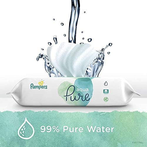 Baby Wipes, Pampers Aqua Pure Sensitive Water Baby Diaper Wipes, Hypoallergenic and Unscented, 12x Pop-Top Packs, 672 Count