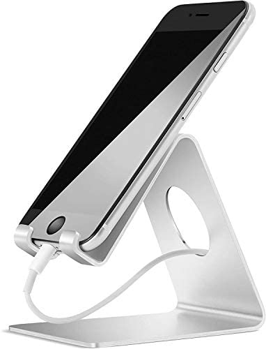 Cell Phone Stand, Lamicall Phone Stand : Cradle Dock Holder Compatible with All Android Smartphone iPhone 11 Pro Xs Xs Max Xr X 8 7 6 6s Plus 5 5s 5c Charging, Universal Accessories Desk - Silver