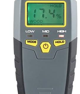 General Tools MMD4E Digital Moisture Meter, Water Leak Detector, Moisture Tester, Pin Type, Backlit LCD Display With Audible and Visual High-Medium-Low Moisture Content Alerts, Grays