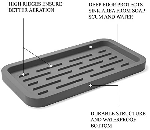 GOOD TO GOOD Silicone Sponges Holder - Kitchen Sink Organizer Tray for Sponge, Soap Dispenser, Scrubber and Other Dishwashing Accessories