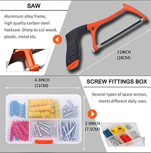 COLMAX 102PCS Home Improvement Tool Kit, Household repairing Mixed Tool Set, with Plastic Blow Molded Tool Box Storage Case,Daily Use