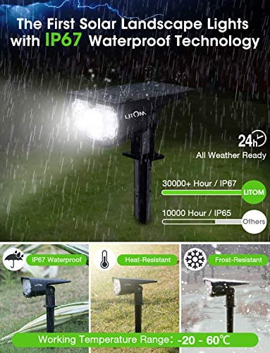 LITOM 12 LEDs Solar Landscape Spotlights, IP67 Waterproof Solar Powered Wall Lights 2-in-1 Wireless Outdoor Solar Landscaping Lights for Yard Garden Driveway Porch Walkway Pool Patio 4 Pack Cold White