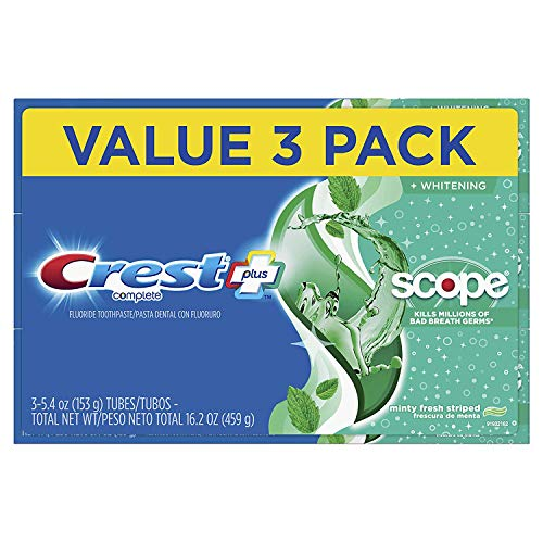 Crest + Scope Complete Whitening Toothpaste, Minty Fresh, 5.4 oz, Pack of 3