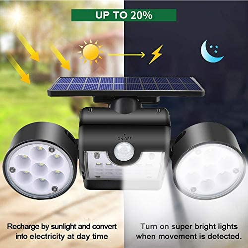 Ollivage Solar Lights Outdoor, Motion Sensor Security Lights Solar Wall Lights with Dual Head Spotlights 30 LED Waterproof 360° Adjustable Solar Motion Lights Outdoor for Garden Garage Patio, 1 Pack