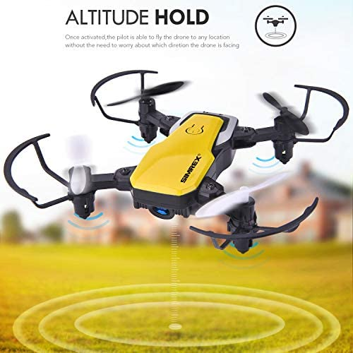 SIMREX X300C 8816 Mini Drone with Camera WiFi HD FPV Foldable RC Quadcopter Rtf 4CH 2.4Ghz Remote Control Headless [Altitude Hold] Super Easy Fly for Training - Yellow