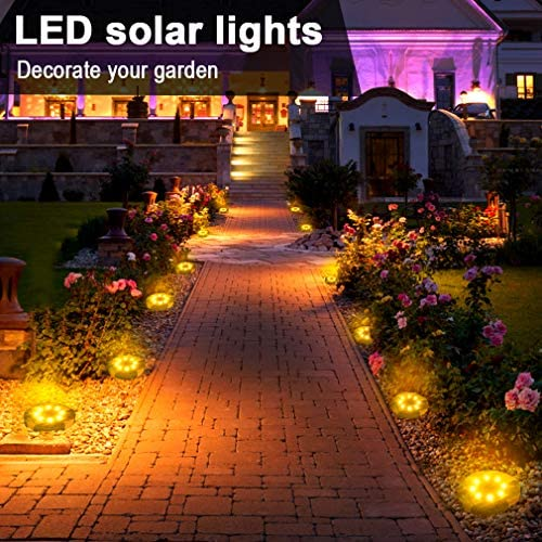 Solar Lights Outdoor, Solar Powered Ground Lights Outdoor Waterproof Solar Garden Lights 8 LED Solar Disk Lights, Solar Landscape Lights for Pathway Yard Walkway Patio Lawn Path (8 Pack Warm White)