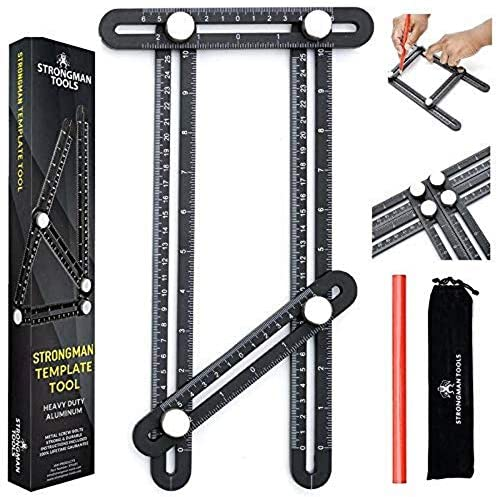 Strongman Tools | Heavy Duty Aluminum Alloy Angle Template Tool | Multi Function Universal Layout Measuring Ruler | 3 Bonus Items - Protective Pouch, Builders Pencil and Instructions | Perfect Present
