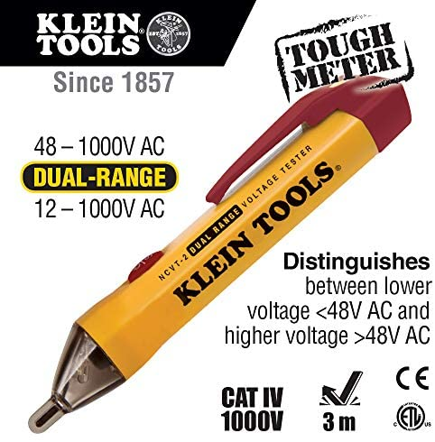 Klein Tools NCVT-2 Voltage Tester, Non-Contact Dual Range Voltage Tester Pen for Standard and Low Voltage, with 3 m Drop Protection
