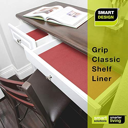 Smart Design Shelf Liner Classic Grip - (18 Inch x 5 Feet) - Drawer Cabinet Non Adhesive Protection - Home & Kitchen [Very Berry]