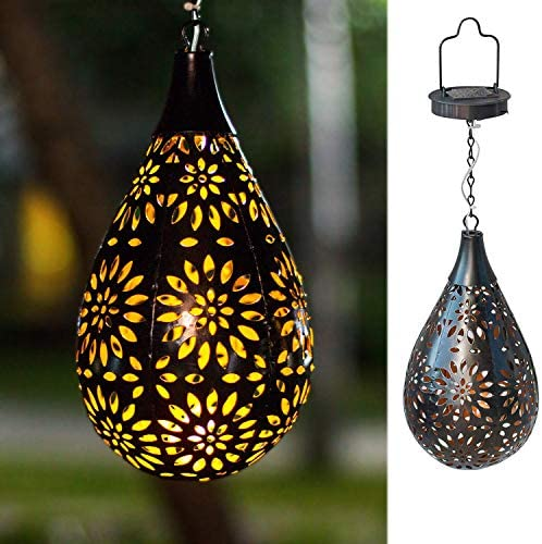 BOAER Hanging Solar lights Outdoor Garden Boho LED Flower Waterproof Decorative Metal Light for Porch Garden Outdoor