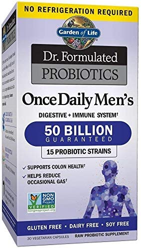 Garden of Life Dr. Formulated Probiotics for Men, Once Daily Men's Probiotics + Prebiotic Fiber, 50 Billion CFU Guaranteed, Shelf Stable, Gluten Free One a Day, 30 Capsules *Packaging May Vary