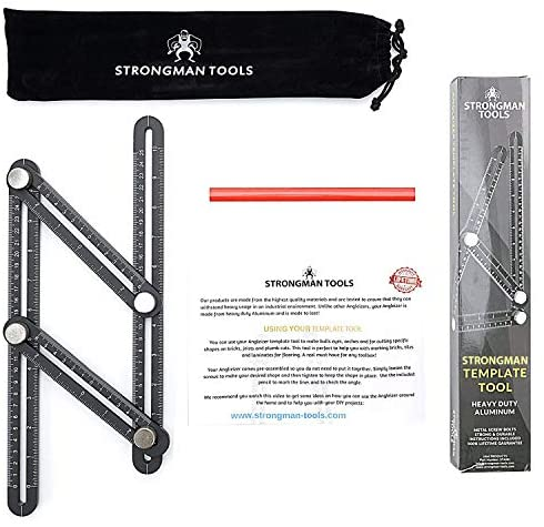 Strongman Tools   Heavy Duty Aluminum Alloy Angle Template Tool   Multi Function Universal Layout Measuring Ruler   3 Bonus Items - Protective Pouch, Builders Pencil and Instructions   Perfect Present