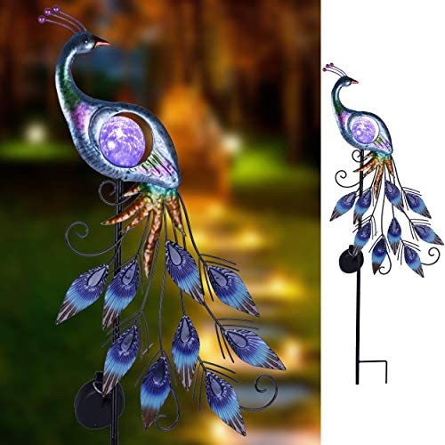 TERESA'S COLLECTIONS 31.5 inch Metal Peacock Decor Solar Garden Lights Solar Peacock Stake for Outdoor Patio Yard Decorations