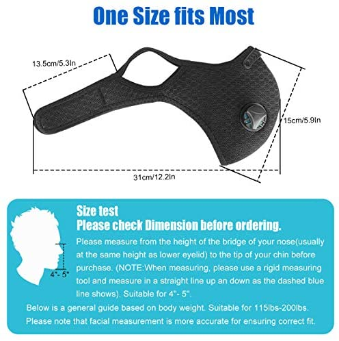 Colbiz Dust Mask Reusable Activated Carbon Windproof Dustproof Masks with 5 Filters, Adjustable Breathable Sports Face Mask for Running Cycling Motorcycle Mowing Woodworking Outdoor Activities
