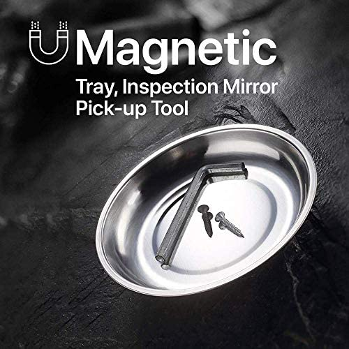 Katzco Magnetic Parts Trays - 3 Pack - Durable Holder with Pick-Up Tool and Telescoping Mirror for Garage, Mechanic, Home, Workshop, Construction Site