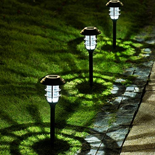 Solpex 8 Pack Solar Pathway Lights Outdoor, Solar Powered Garden Lights, Waterproof Led Path Lights for Patio, Lawn, Yard and Landscape-(Cold White)