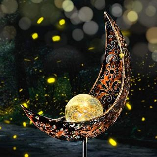 Fertgo Garden Solar Light Outdoor Decorative, Moon Decor, Crackle Glass Ball Metal Garden Stake Light for Pathway, Lawn, Patio, Yard