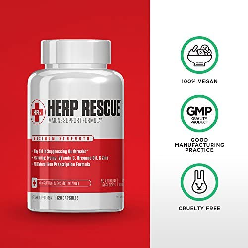 HERP RESCUE #1 Best formula to clear skin FAST of Herpes, Cold Sores, and Shingles.- Full 30 Day Supply l Lysine, Zinc, Vitamin C, Oregano Oil, 120 Capsules