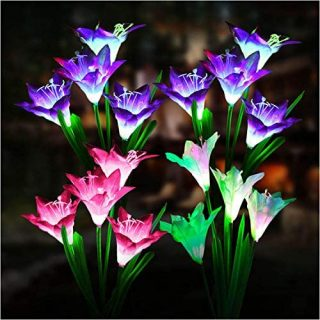 Outdoor Solar Lights, KOOPER 4 Pack Solar Garden Lights with 16 Bigger Lily Flowers, Waterproof 7 Color Changing Outdoor Lights - Bigger Solar Panel for Garden Patio Yard Pathway Decoration