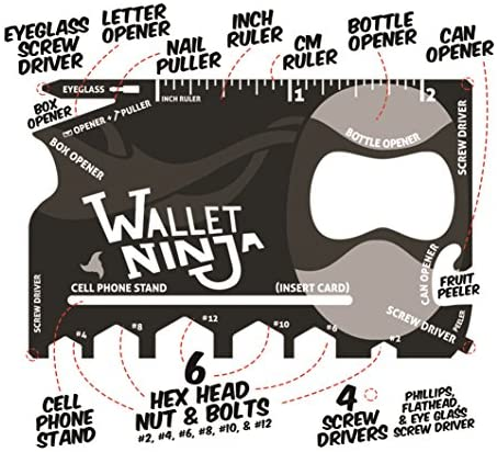 Wallet Ninja- 18 in 1 Credit Card Sized Multitool (#1 Best Selling in the World) (Black)