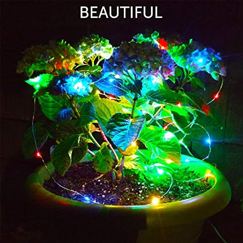 Set of 2 Solar Powered 100-LED String Lights, Outdoor Multicolor Copper Wire Fairy Lights, Waterproof Garden Decoration Christmas Lights