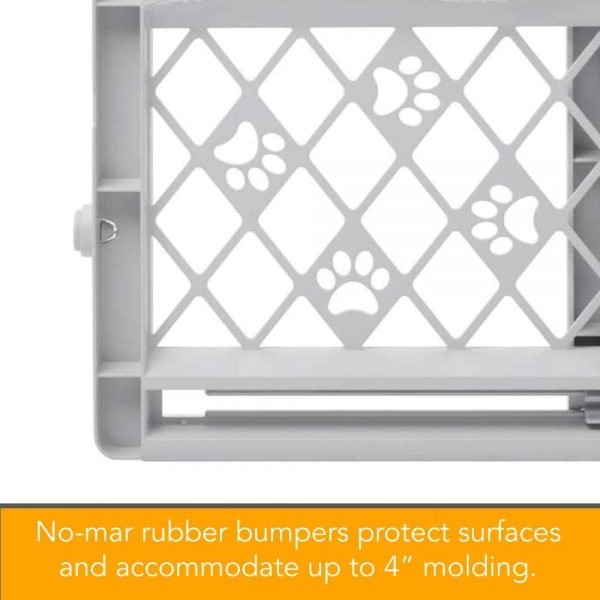 """North States MyPet Paws 40"""" Portable Pet Gate: Expands & Locks in Place with no Tools. Pressure Mount. Fits 26""""- 42"""" Wide (23"""" Tall, Light Gray) (8871)"""
