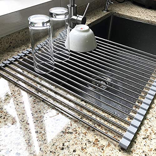 Large Dish Drying Rack, Attom Tech Home Roll Up Dish Racks Multipurpose Foldable Stainless Steel Over Sink Kitchen Drainer Rack for Cups Fruits Vegetables