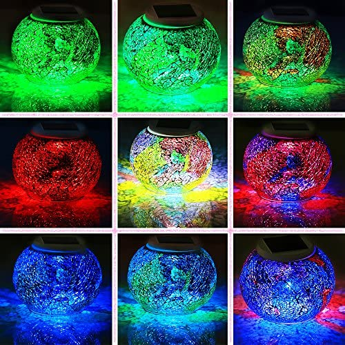 Pandawill Color Changing Mosaic Solar Light, Multi-colored1 Waterproof/Weatherproof Crystal Glass Globe Ball Light for for Garden, Patio, Party, Yard, Outdoor/Indoor Decorations