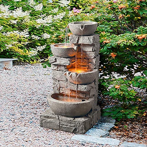 """Peaktop 201601PT Floor Stacked Stone 4 Tiered Bowls Waterfall Water Fountain for Outdoor Patio Garden Backyard Decking with Led Lights and Pump, 33"""" Height, Gray"""