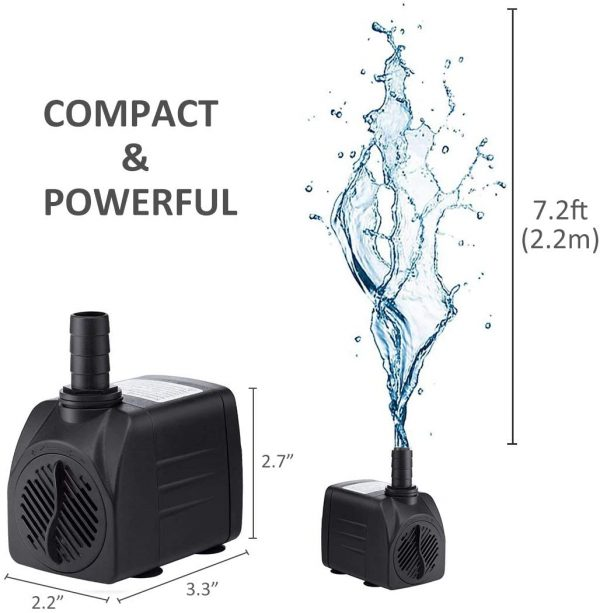 GROWNEER 550GPH Submersible Pump 30W Ultra Quiet Fountain Water Pump, 2000L/H, with 7.2ft High Lift, 3 Nozzles for Aquarium, Fish Tank, Pond, Hydroponics, Statuary
