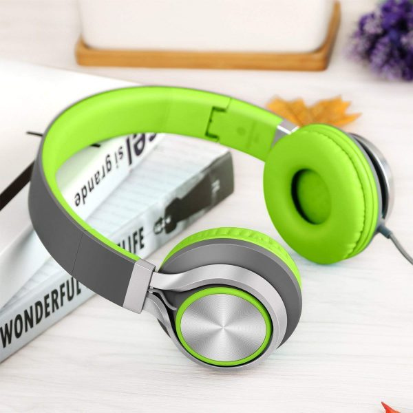 AILIHEN C8 Foldable Wired Headphones with Microphone and Volume Control for Cellphones Tablets Smartphones Laptop Computer PC Mp3/4 (Gray/Green)