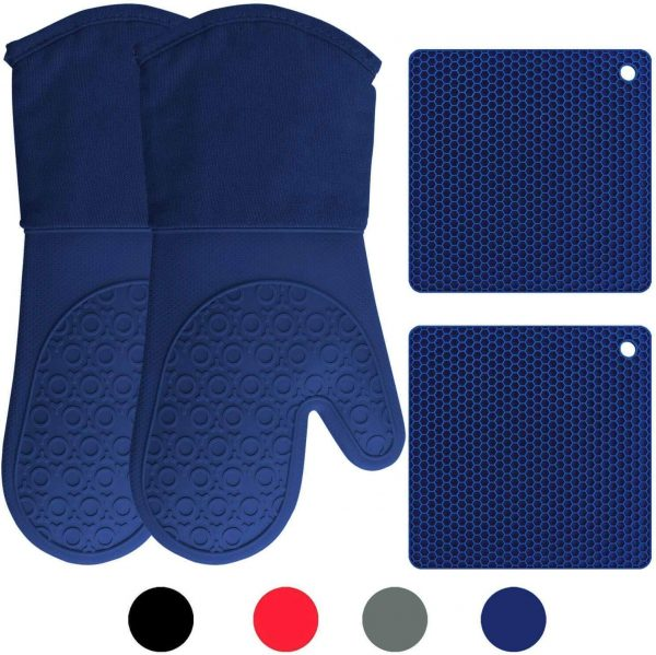 Silicone Oven Mitts and Potholders (4-Piece Set) Heavy Duty Cooking Gloves, Kitchen Counter Safe Trivet Mats | Advanced Heat Resistance, Non-Slip Textured Grip (Royal Blue)