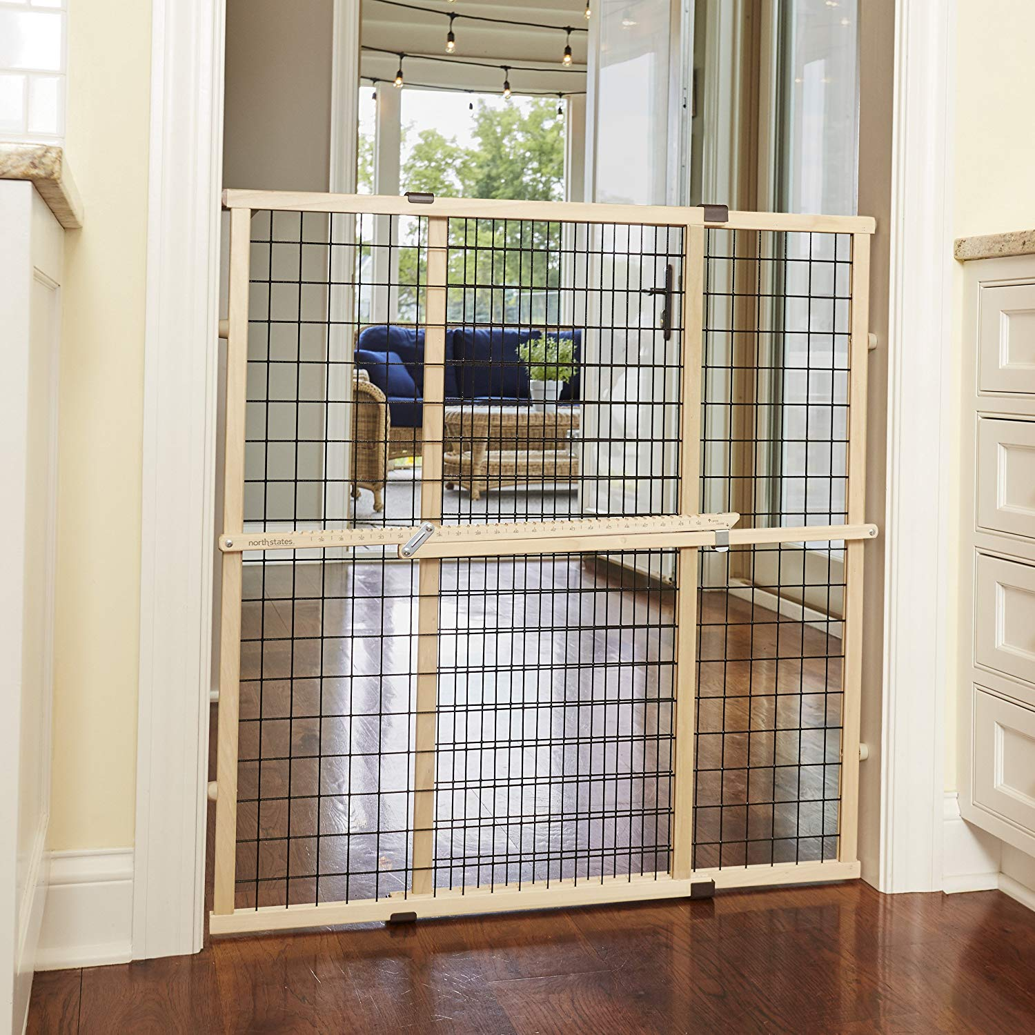 "North States MyPet 37"" Tall & 48"" Wide Wire Mesh Gate: Simply Expand and Lock in Place. Pressure Mount. Fits 29.5""- 48"" Wide (37"" Tall, Sustainable Hardwood)"