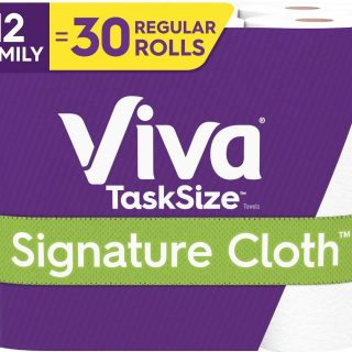 Viva Signature Cloth TaskSize Paper Towels, Soft & Strong Kitchen Paper Towels, White, 2 Packs of 6 Family Rolls (12 Family Rolls = 30 Regular Rolls)