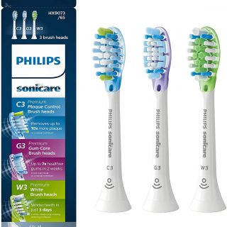 Genuine Philips Sonicare toothbrush head : C3 Premium Plaque Control, G3 Premium Gum Care & W3 Premium White, HX9073/65, 3 pk, White