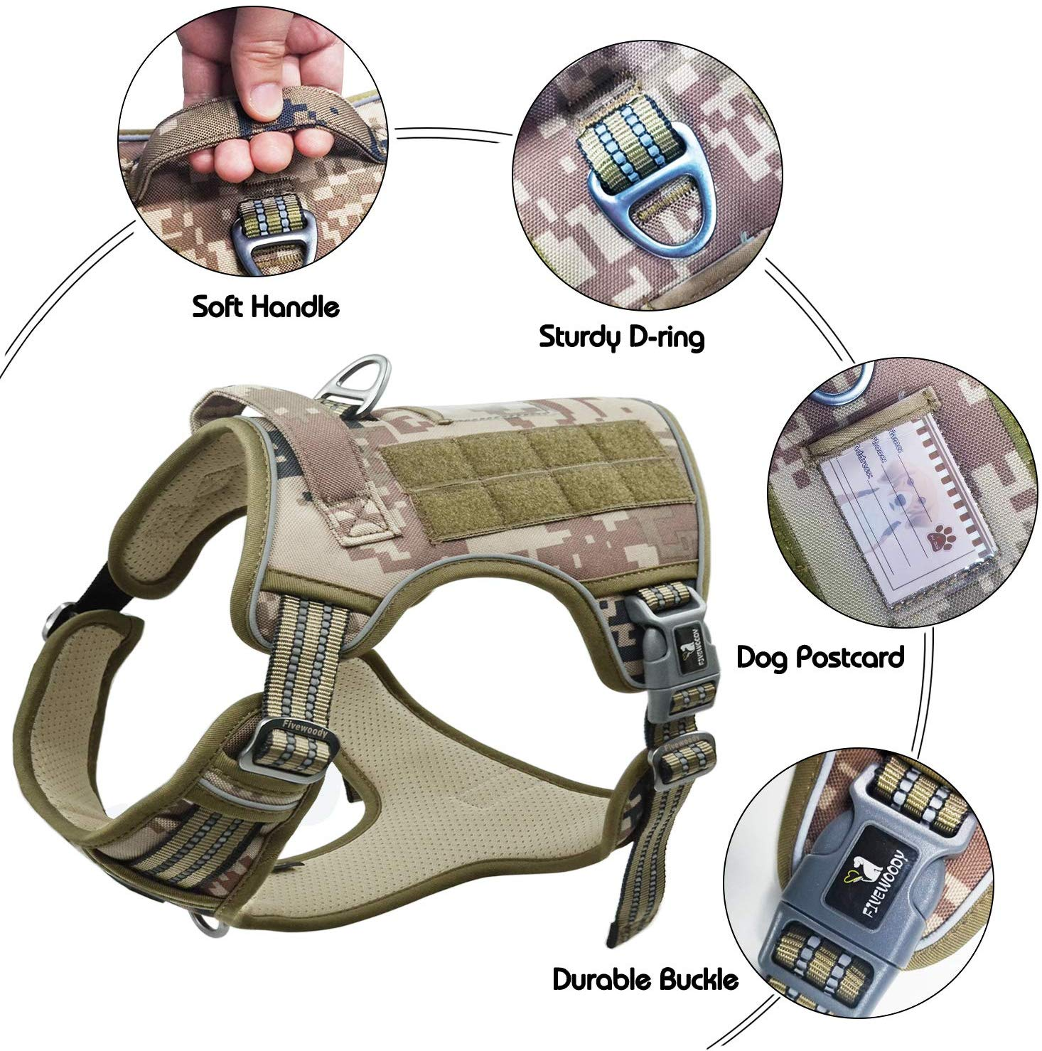 FIVEWOODY Tactical Dog Training Harness No Pulling Front Clip Leash Adhesion Reflective K9 Pet Working Vest Easy Control for Small Medium Large Dogs