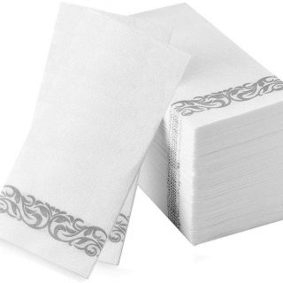 Hand Towels Disposable Cloth Like Guest Towels Linen Feel Airlaid Paper Dinner Napkins for Luncheon Dining Room Table Banquet Wedding Reception Party Events Nice Elegant Decorative Bulk Silver 300Pack