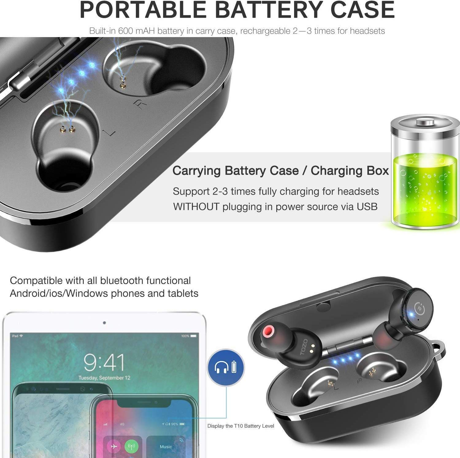 TOZO T10 Bluetooth 5.0 Wireless Earbuds with Wireless Charging Case IPX8 Waterproof TWS Stereo Headphones in Ear Built in Mic Headset Premium Sound with Deep Bass for Sport Black